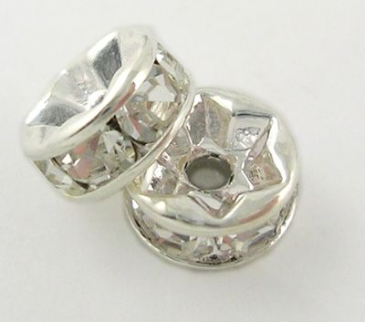 Rhinestone spacer bead - Silver - 8mm (20)