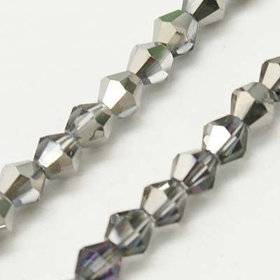 Silver 4mm Faceted Glass Bicone