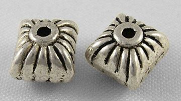 Square Tibetan Style Bead Spacers Antique Silver