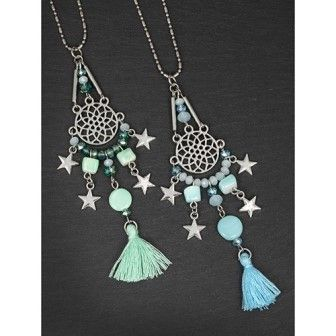 Tassel Star Dreamcatcher Necklace Green