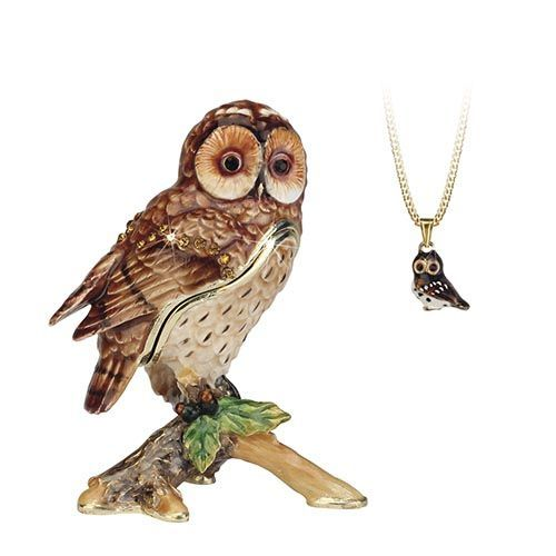 Tawny Owl Trinket Box and Necklace