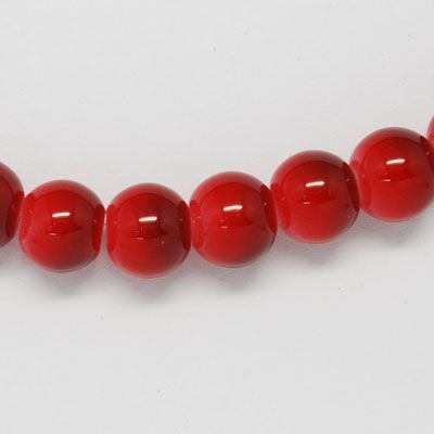 Two tone Red 12mm Glass Beads (17)